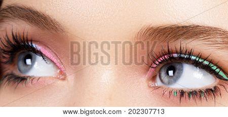 Beautiful Macro Shot Of Female Eye With Extreme Long Eyelashes. Perfect Shape Make-up And Long Lashe