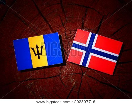 Barbados Flag With Norwegian Flag On A Tree Stump Isolated