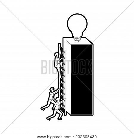 businessmen climbing wooden stairs in a big rectangular block with light bulb in the top black silhouette and thick contour vector illustration