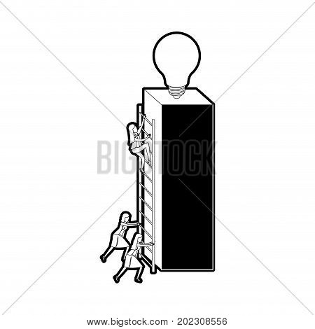 businesswomen climbing wooden stairs in a big rectangular block with light bulb in the top black silhouette and thick contour vector illustration