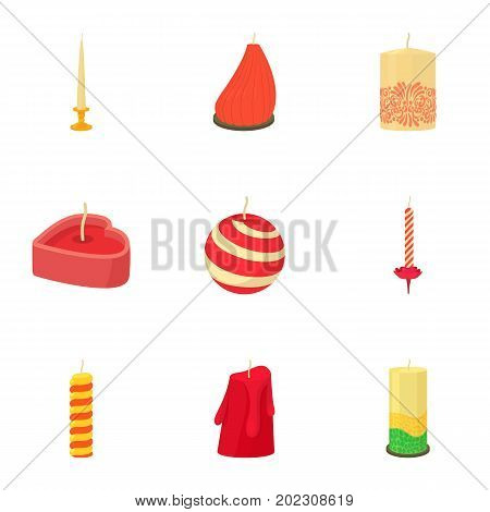 Christmas candle icons set. Cartoon set of 9 christmas candle vector icons for web isolated on white background