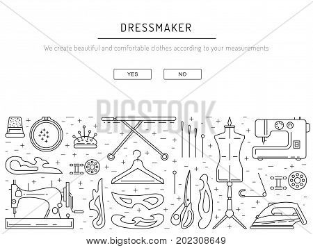 Template sewing banner outline vector. Linear tools and equipment for dressmaker, tailor and needlework.