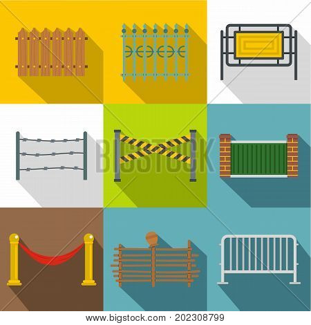 Fencing modules icon set. Flat style set of 9 fencing modules vector icons for web design