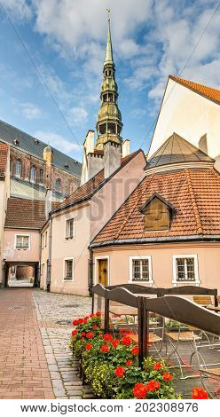 Medieval district in old Riga city that is the capital of Latvia offering for tourists unique architectural Gothic ensembles and rare ancient buildings