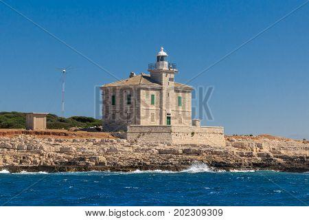 A histirical lighthouse on the island Brijuni Croatia