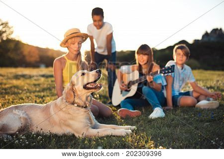 Teenagers With Dog In Park