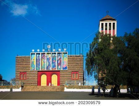 View to Enda Mariam Cathedral 06-03-2011 Asmara Eritrea
