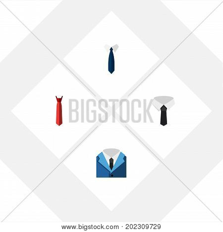 Flat Icon Necktie Set Of Textile, Style, Suit And Other Vector Objects
