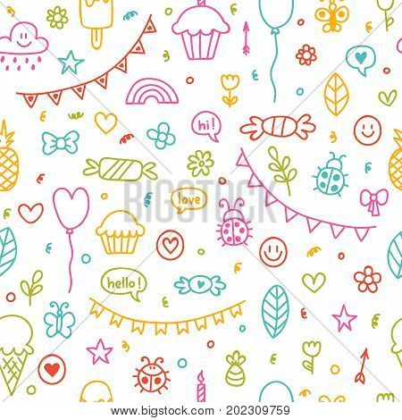 Background For Cute Little Boys And Girls. Hand Drawn Children Drawings Color Seamless Pattern. Dood
