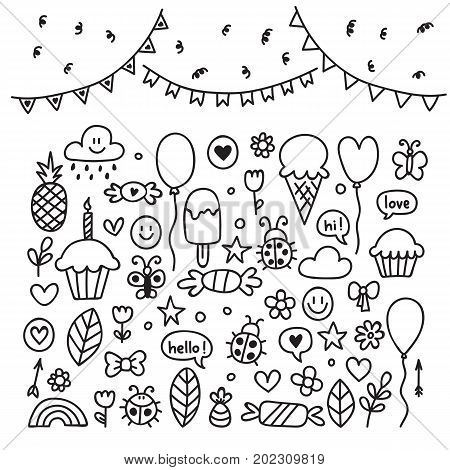Hand Drawn Design Elements. Party Set Of Celebration Objects. Doodle Children Drawings