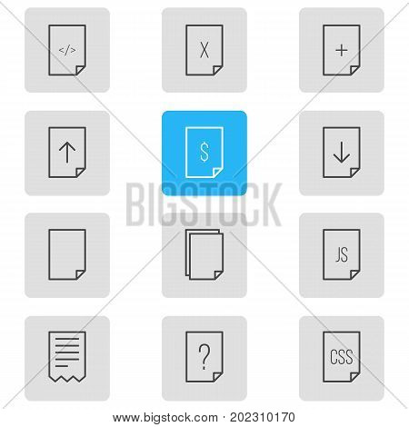 Editable Pack Of Download, Copy, HTML And Other Elements.  Vector Illustration Of 12 Page Icons.