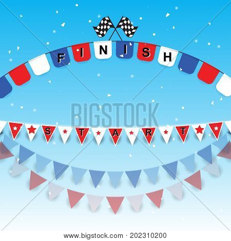 Finish and start flags with confetti stock vector