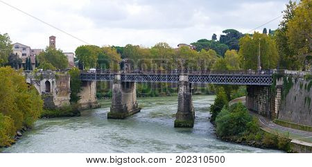 Ponte Palatino a bridge across the Tiber river in the center of Rome Italy