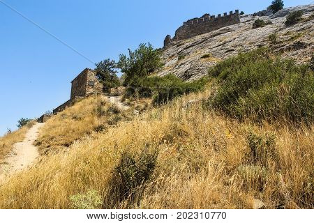 Remains of fortifications. Genoese ancient fortress near the city of Sudak.