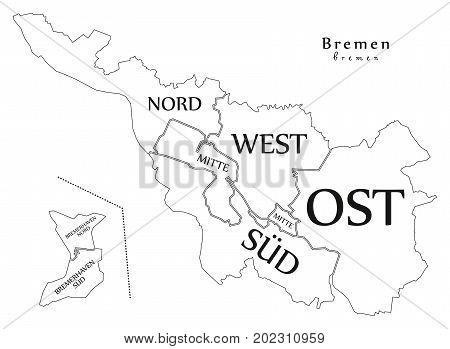Modern City Map - Bremen City Of Germany With Boroughs And Titles De Outline Map