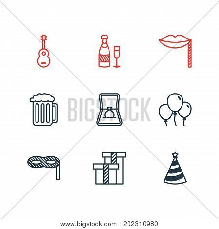 Editable Pack Of Cap, Musical Instrument, Fizz And Other Elements.  Vector Illustration Of 9 Banquet Icons.
