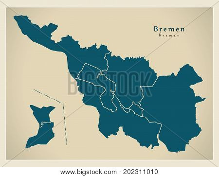 Modern City Map - Bremen City Of Germany With Boroughs De