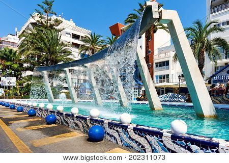 Fountain in the centre of Torrevieja city. Costa Blanca. Spain
