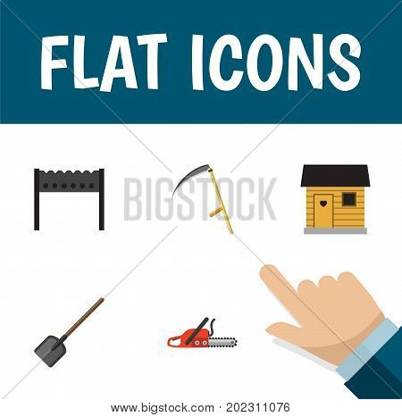 Flat Icon Dacha Set Of Hacksaw, Stabling, Shovel And Other Vector Objects
