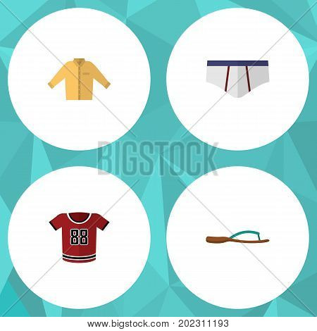Flat Icon Dress Set Of Underclothes, T-Shirt, Banyan And Other Vector Objects