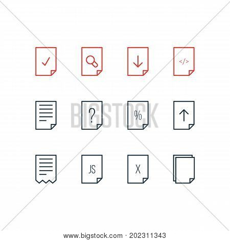 Editable Pack Of Done, Remove, Question And Other Elements.  Vector Illustration Of 12 Document Icons.