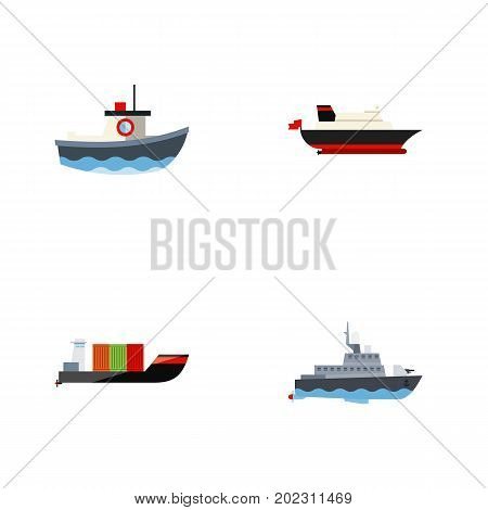Flat Icon Ship Set Of Ship, Cargo, Tanker And Other Vector Objects