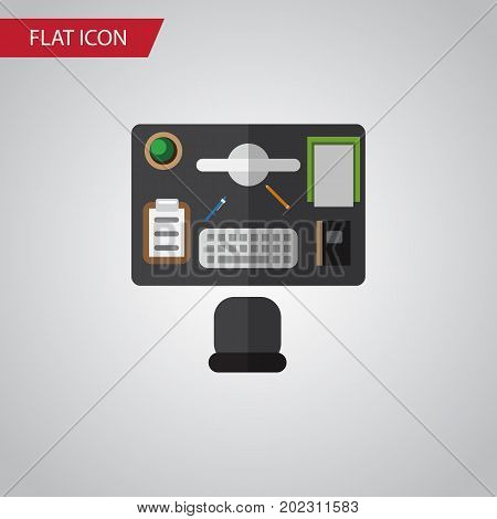 Bureau Vector Element Can Be Used For Bureau, Office, Desk Design Concept.  Isolated Office Desk Flat Icon.