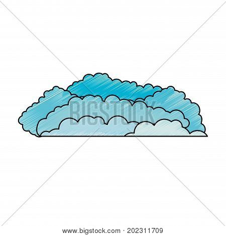 clouds cumulus blue to pencils colored silhouette vector illustration