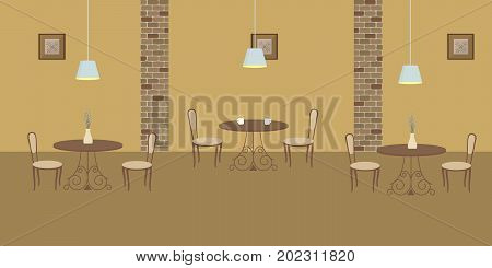Interior of restaurant in a beige colors. There are three tables and chairs in the image. There are also pictures in the frames on the wall and lamps here. Vector flat illustration.