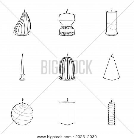 Candle for the holiday icons set. Outline set of 9 candle for the holiday vector icons for web isolated on white background