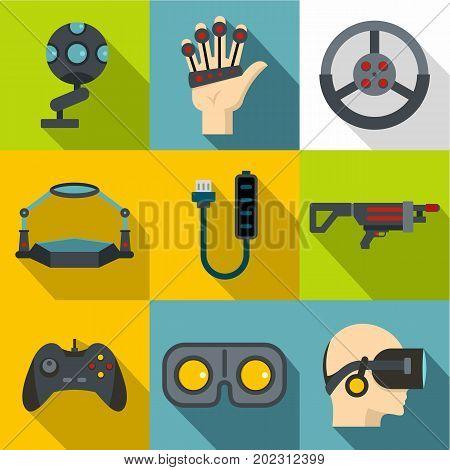 Futuristic reality icon set. Flat style set of 9 futuristic reality vector icons for web design