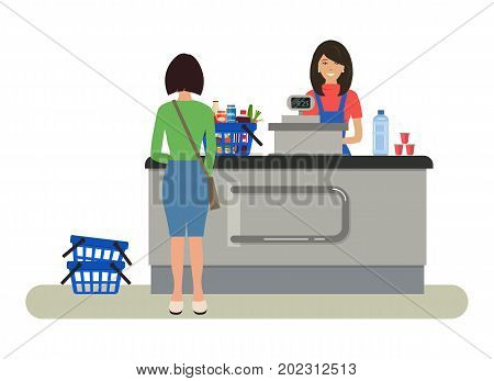Web banner of a supermarket cashier. The young woman is standing near the cash register. There is also a buyer and a shopping cart with products in the picture. Vector flat illustration.