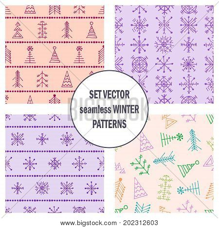 Set Of Seamless Vector Patterns With Fir-trees, Snowflakes. Seasonal Winter Background With Cute Han