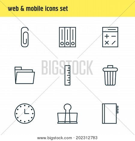 Editable Pack Of Calculate, Meter, Textbook And Other Elements.  Vector Illustration Of 9 Instruments Icons.