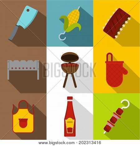 Frying meat icon set. Flat style set of 9 frying meat vector icons for web design