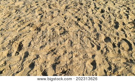 Close up of footprints in the sand natural background