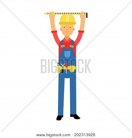 Builder character in overalls with belt with tools measuring on real construction site cartoon vector Illustration on a white background