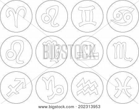 Icon set of all zodiac signs in white color