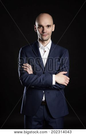Mysterious Man On Black Background