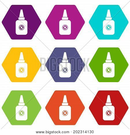 Insect spray icon set many color hexahedron isolated on white vector illustration