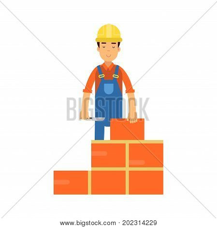 Construction worker bricklayer making a brickwork with trowel and cement mortar cartoon vector Illustration on a white background