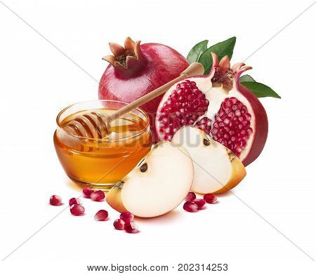 Red apple pomegranate and honey jar for Jewish New Year isolated on white background for poster design