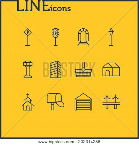 Editable Pack Of Semaphore, Parking, Subway And Other Elements.  Vector Illustration Of 12  Icons.