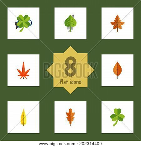 Flat Icon Foliage Set Of Foliage, Leafage, Alder And Other Vector Objects