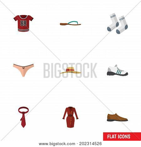 Flat Icon Clothes Set Of Cravat, Sneakers, Lingerie And Other Vector Objects