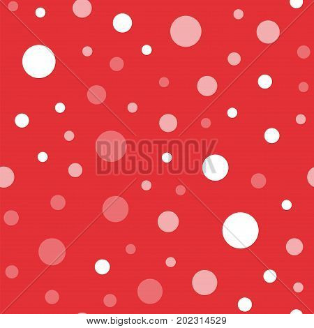 White Polka Dots Seamless Pattern On Red Background. Charming Classic White Polka Dots Textile Patte