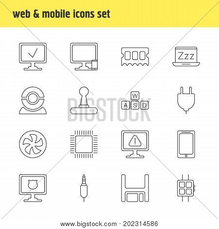 Editable Pack Of Microprocessor, Laptop, Diskette And Other Elements.  Vector Illustration Of 16 Laptop Icons.