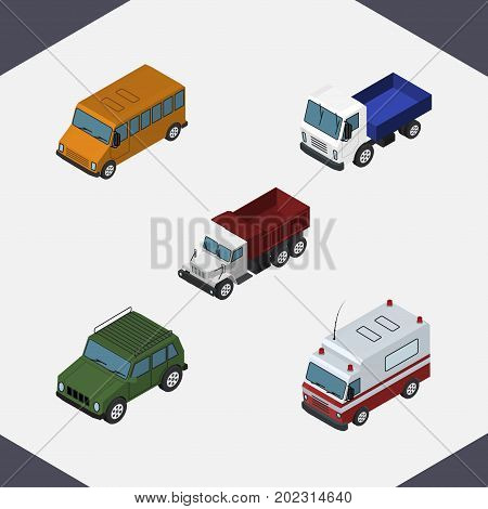 Isometric Transport Set Of Armored, Autobus, Freight And Other Vector Objects