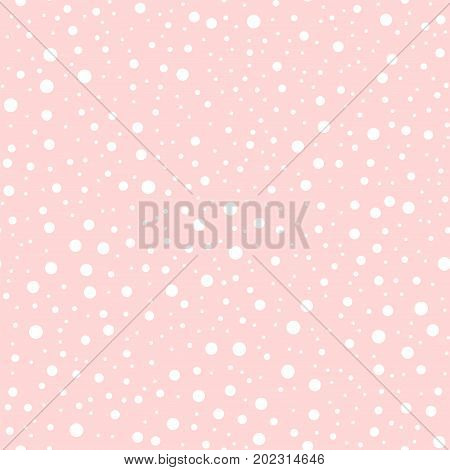 White Polka Dots Seamless Pattern On Pink Background. Brilliant Classic White Polka Dots Textile Pat