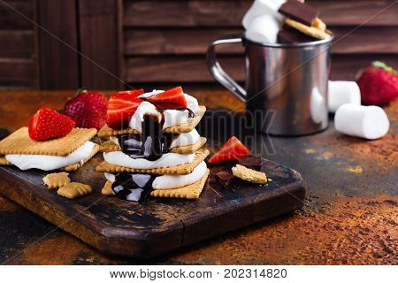Picnic dessert smores with marshmallow, graham crackers, strawberry and chocolate sauce on dark vintage background